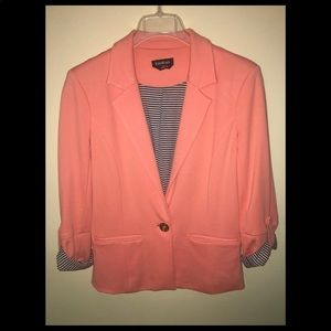BEBE Soft Orange, Stripe Blazer Jacket